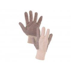 Textilné rukavice GABO, OSPREY s PVC terčíkami, biele, veľ. 10