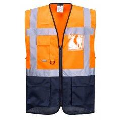 Reflexní vesta manažerská C476 Warssaw, oranžovo-tm.modrá
