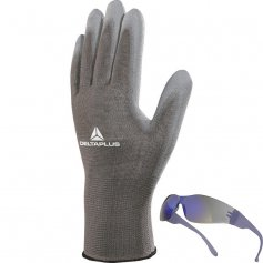 Povrstvené rukavice VE702PG, 12párov + brýle